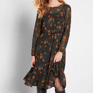 Modcloth Floral Chiffon Occasion Midi Black Dress